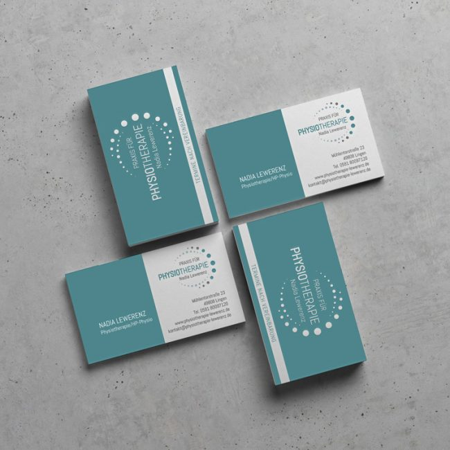 Visitenkarten Physiotherapiepraxis Nadia Lewerenz